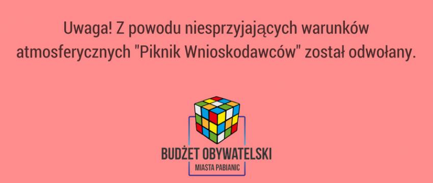 """""""Piknik Wnioskodawców"""" odwołany"""
